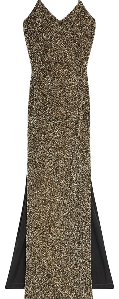 88943556b0a5c Alice + Olivia Gold Raquel Sequin Evening Gown Long Formal Dress ...