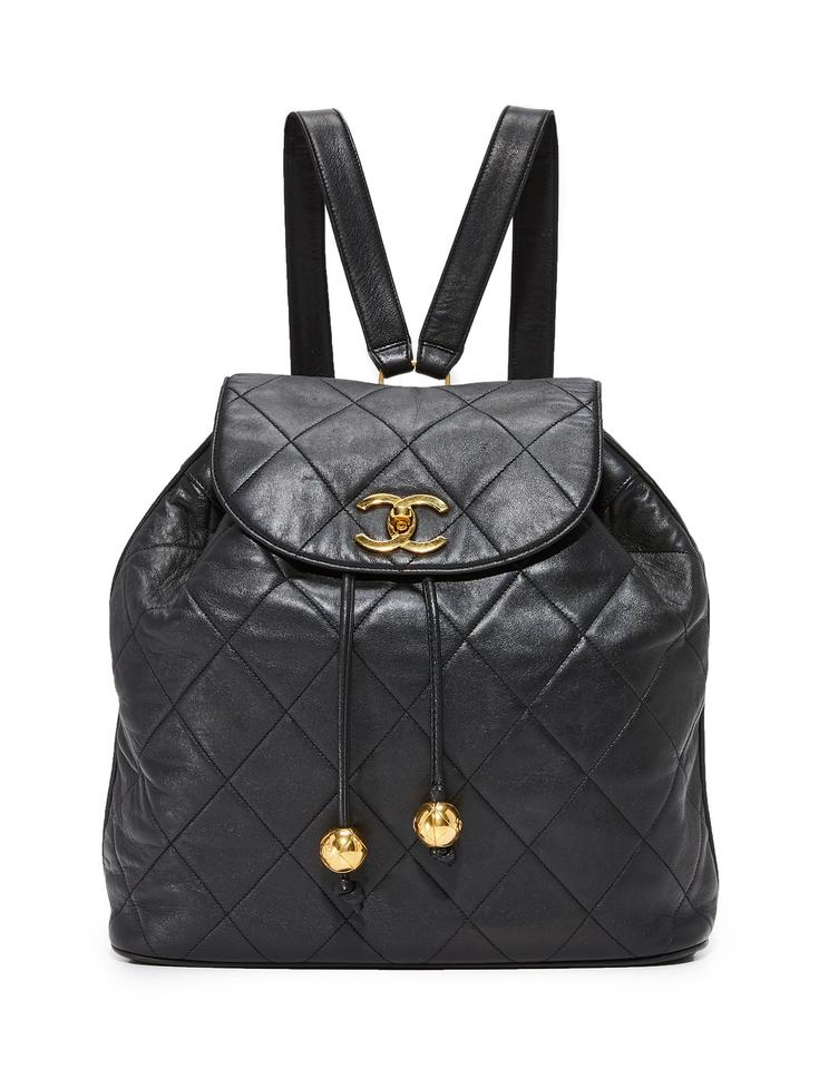 e3ab3d275402 Chanel Drawstring Backpack Quilted Black Lambskin Leather Backpack ...