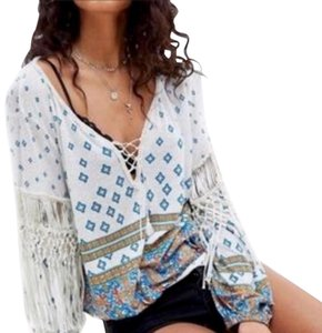 Free People New Turquoise Fringe Peasant Top Multicolor