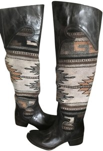 FREEBIRD by Steven Over The Knee Leather D. Brown Distressed Boots