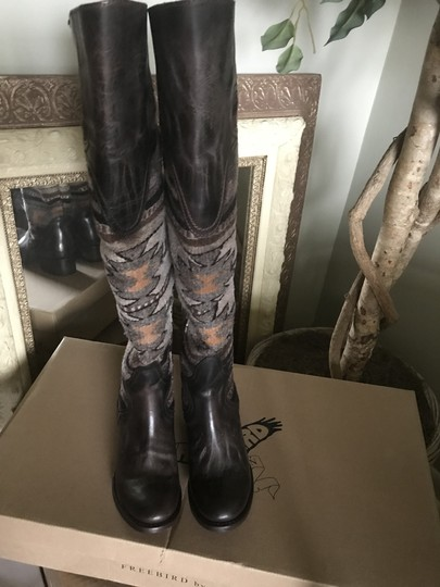 FREEBIRD by Steven Over The Knee Leather D. Brown Distressed Boots Image 2