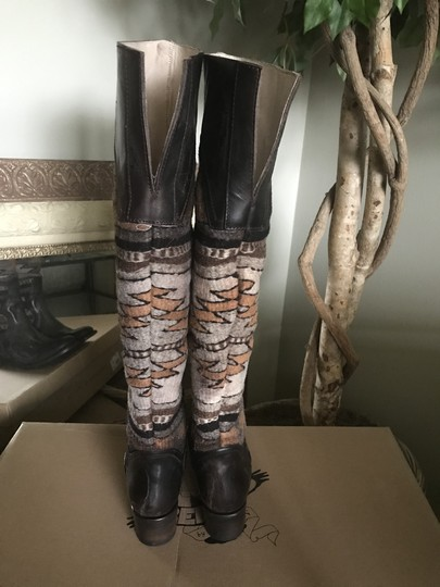 FREEBIRD by Steven Over The Knee Leather D. Brown Distressed Boots Image 3