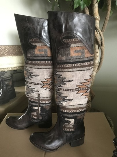 FREEBIRD by Steven Over The Knee Leather D. Brown Distressed Boots Image 4