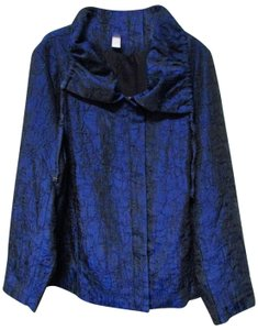 Chico's Longsleeve Zipper Collared Straight Blue/Black Jacket