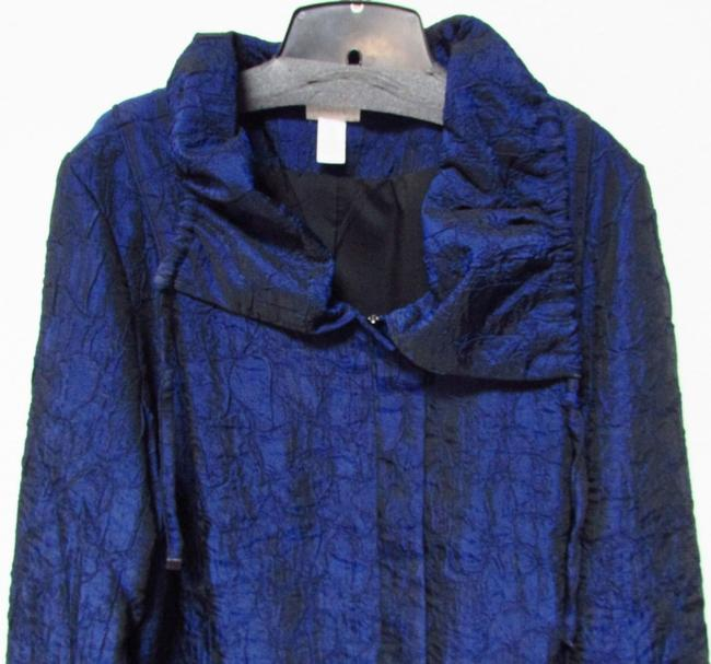 Chico's Longsleeve Zipper Collared Straight Blue/Black Jacket Image 1