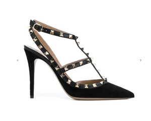 Valentino Studded Pointed Toe Ankle Strap Branded Insole Suede Black Pumps