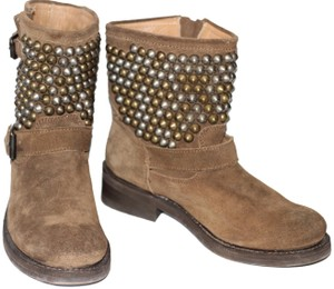 e9835267c6fd Ash Studded Moto Biker Ankle Suede Taupe Boots
