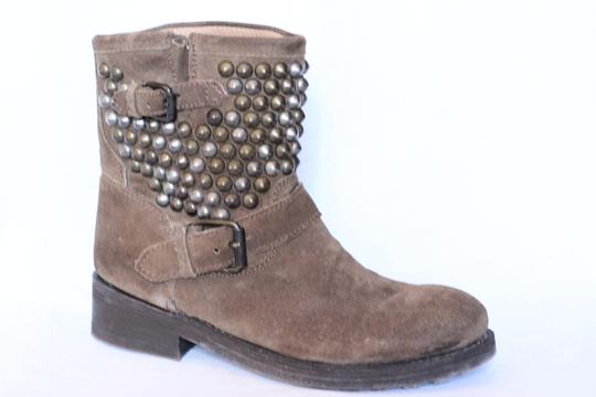 Ash Studded Moto Biker Ankle Suede Taupe Boots Image 2