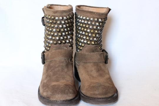 Ash Studded Moto Biker Ankle Suede Taupe Boots Image 3