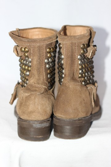 Ash Studded Moto Biker Ankle Suede Taupe Boots Image 5