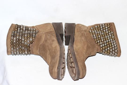 Ash Studded Moto Biker Ankle Suede Taupe Boots Image 8