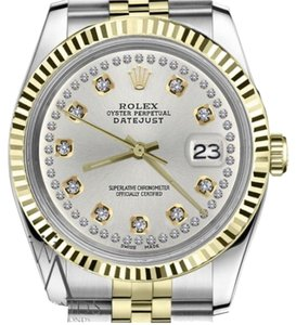 Rolex Women`s 26mm Datejust2Tone Silver Color String Diamond Accent Dial