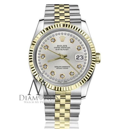Rolex Women`s 26mm Datejust2Tone Silver Color String Diamond Accent Dial Image 1
