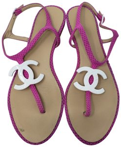 Chanel Interlocking Cc Ankle Strap Logo Quilted Silver Hardware Pink Sandals