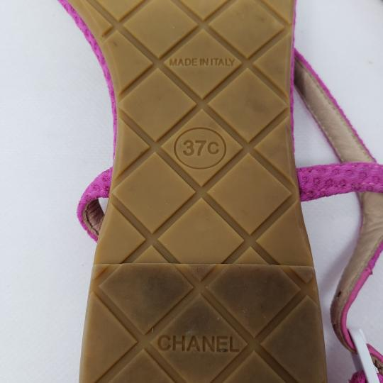 Chanel Interlocking Cc Ankle Strap Logo Quilted Silver Hardware Pink Sandals Image 10