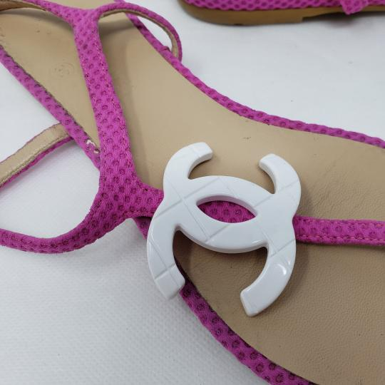 Chanel Interlocking Cc Ankle Strap Logo Quilted Silver Hardware Pink Sandals Image 5