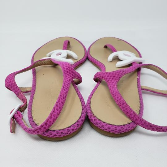 Chanel Interlocking Cc Ankle Strap Logo Quilted Silver Hardware Pink Sandals Image 8