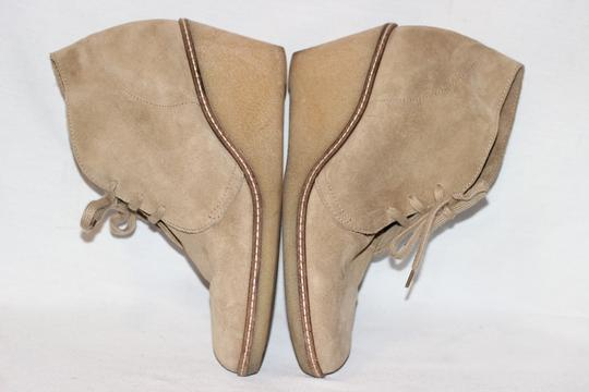 J.Crew Ankle Italian Suede Crepe Wedge Beige Boots Image 3