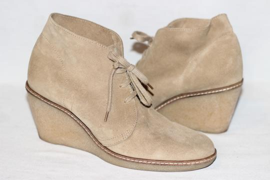 J.Crew Ankle Italian Suede Crepe Wedge Beige Boots Image 4