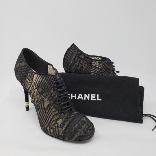 Chanel Lace Gold Hardware Pearl Interlocking Cc Mesh Black Boots Image 2