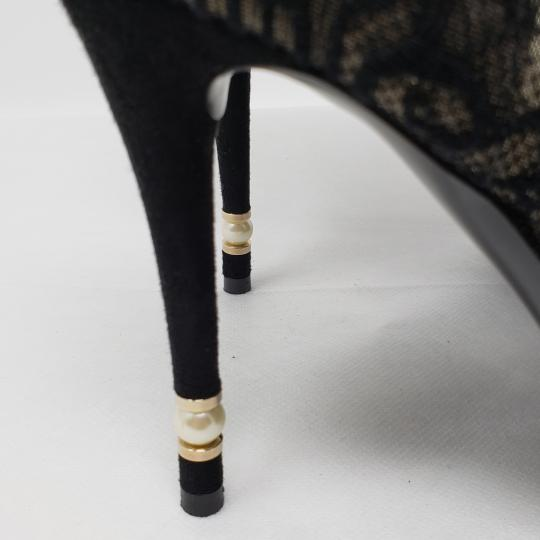 Chanel Lace Gold Hardware Pearl Interlocking Cc Mesh Black Boots Image 3