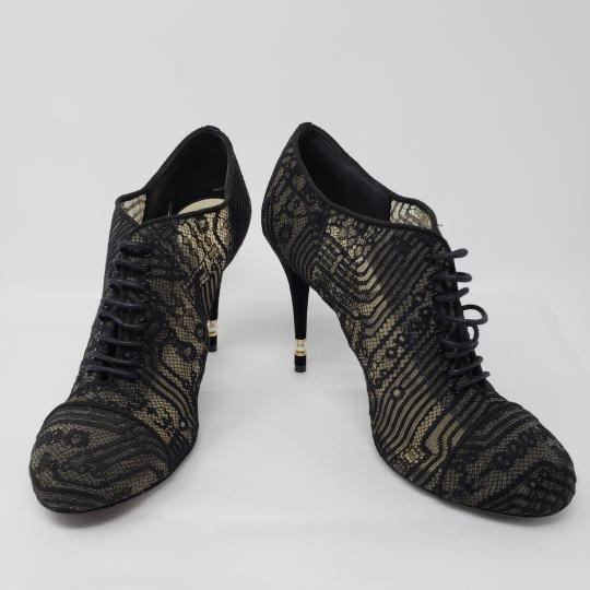 Chanel Lace Gold Hardware Pearl Interlocking Cc Mesh Black Boots Image 4
