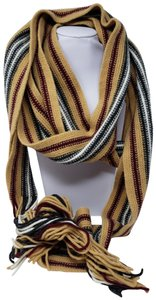 Burberry Tan multicolor Burberry London striped lambswool scarf