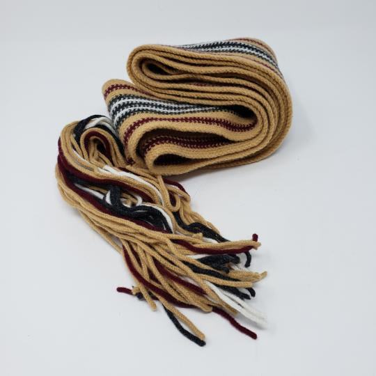 Burberry Tan multicolor Burberry London striped lambswool scarf Image 10