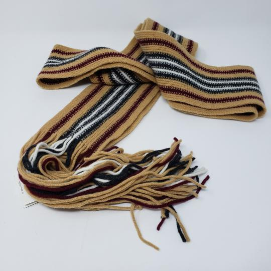 Burberry Tan multicolor Burberry London striped lambswool scarf Image 11