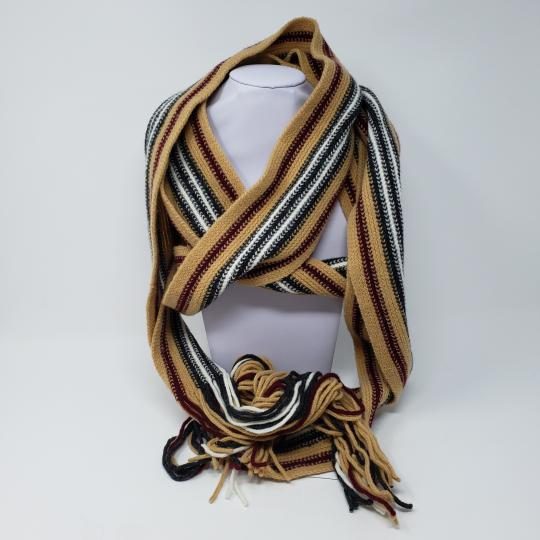 Burberry Tan multicolor Burberry London striped lambswool scarf Image 2