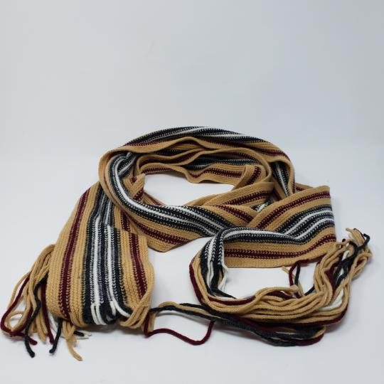 Burberry Tan multicolor Burberry London striped lambswool scarf Image 4