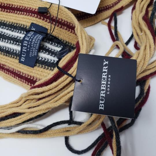 Burberry Tan multicolor Burberry London striped lambswool scarf Image 5
