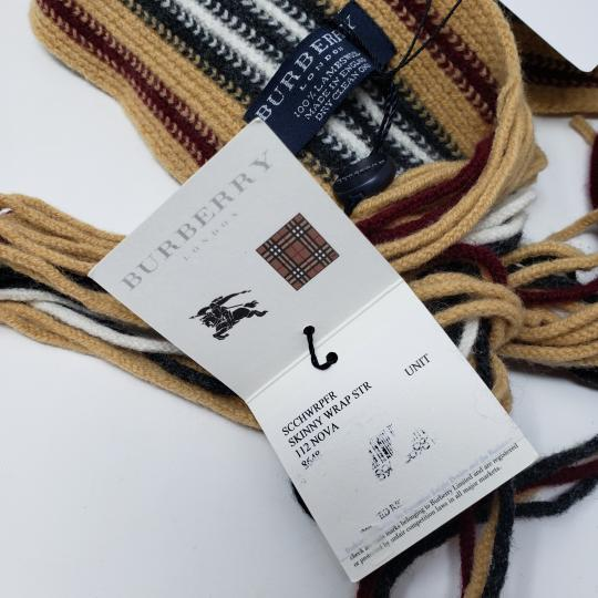 Burberry Tan multicolor Burberry London striped lambswool scarf Image 6