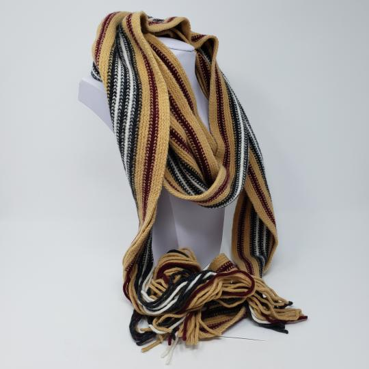 Burberry Tan multicolor Burberry London striped lambswool scarf Image 7