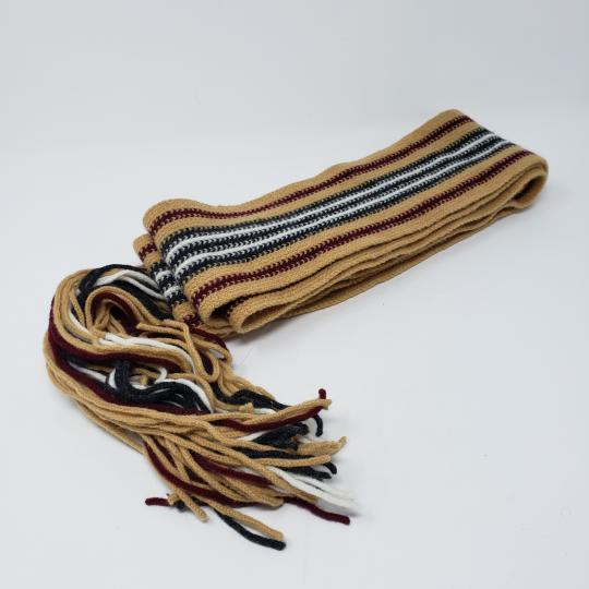 Burberry Tan multicolor Burberry London striped lambswool scarf Image 8