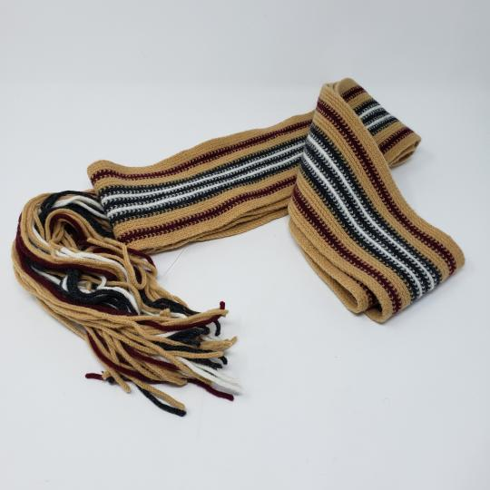 Burberry Tan multicolor Burberry London striped lambswool scarf Image 9