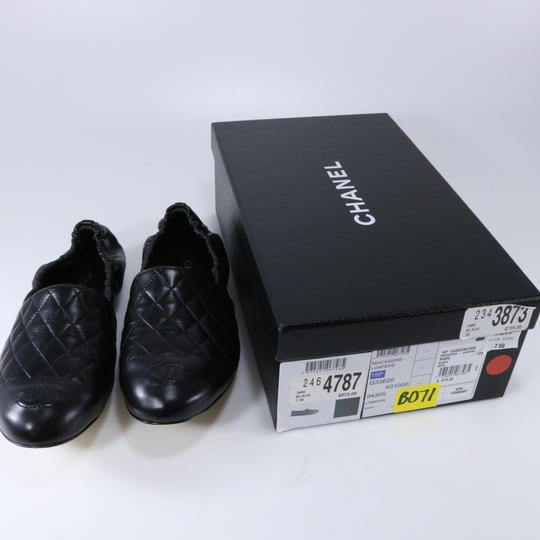 Chanel Quilted Logo Logo Black Flats Image 1