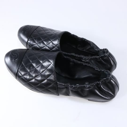 Chanel Quilted Logo Logo Black Flats Image 2