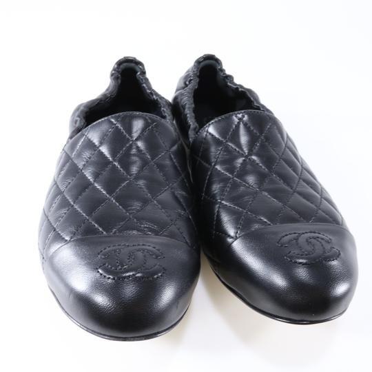 Chanel Quilted Logo Logo Black Flats Image 3