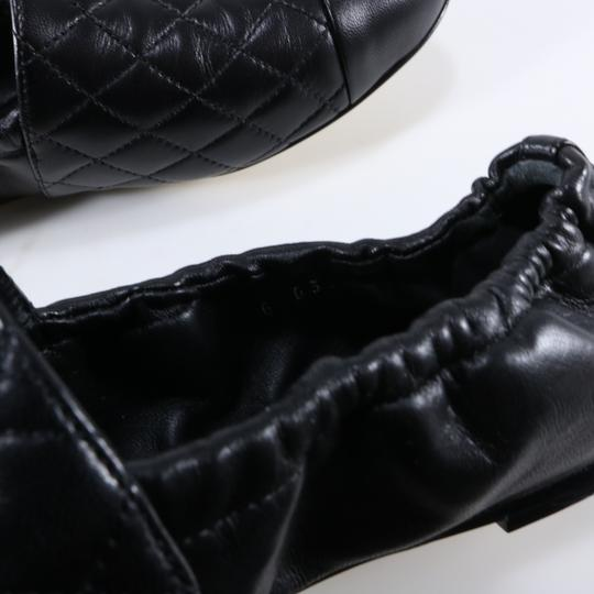 Chanel Quilted Logo Logo Black Flats Image 6