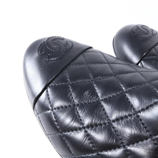 Chanel Quilted Logo Logo Black Flats Image 8