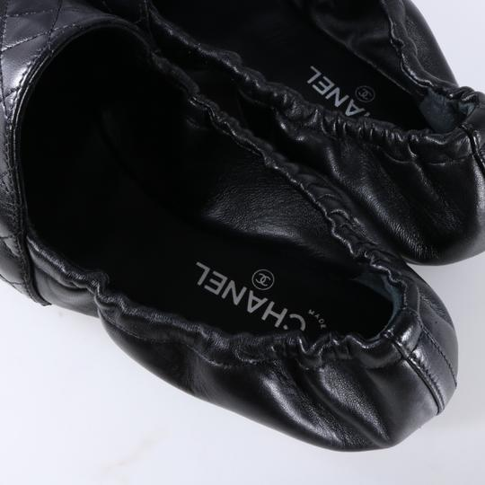 Chanel Quilted Logo Logo Black Flats Image 9
