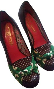Poetic License rich brown with green and yellow flower accents Wedges