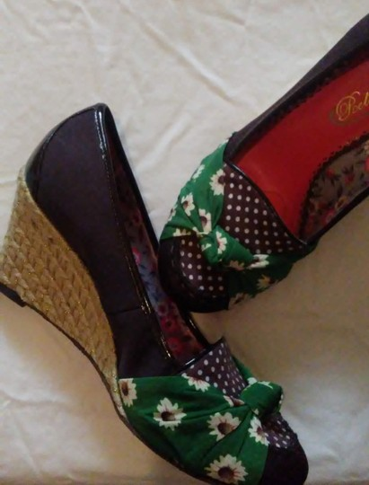 Poetic License rich brown with green and yellow flower accents Wedges Image 1