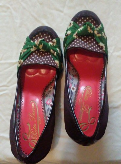 Poetic License rich brown with green and yellow flower accents Wedges Image 2