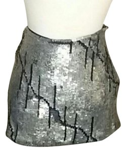 Gryphon High End Sexy Classic Mini Skirt Silver and Black sequins