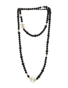 Chanel 2017 Black Beaded CC Star Necklace W/ Box & Pouch