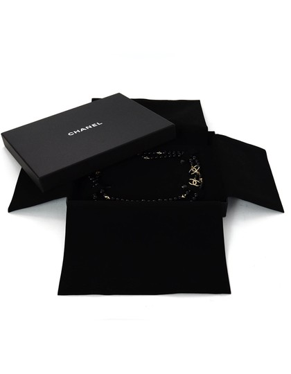 Chanel 2017 Black Beaded CC Star Necklace W/ Box & Pouch Image 1