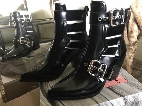 Jeffrey Campbell Ankle Pointed Toe Patent Leather Silver Buckles Black Boots Image 2