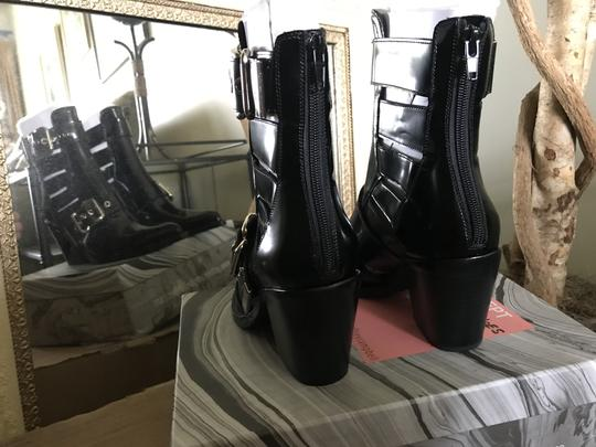 Jeffrey Campbell Ankle Pointed Toe Patent Leather Silver Buckles Black Boots Image 3